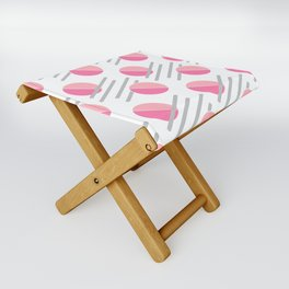 Modern Pink Circle Line Abstract Folding Stool