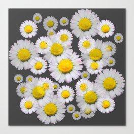 CHARCOAL GREY GARDEN OF SHASTA DAISY FLOWERS Canvas Print