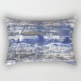 Gray Blue Marble abstract watercolor Rectangular Pillow