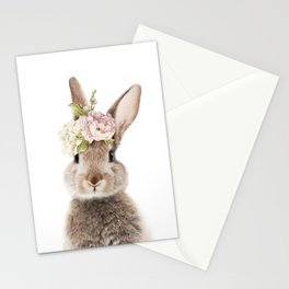 Foral Peek-a-boo Bunny Stationery Cards