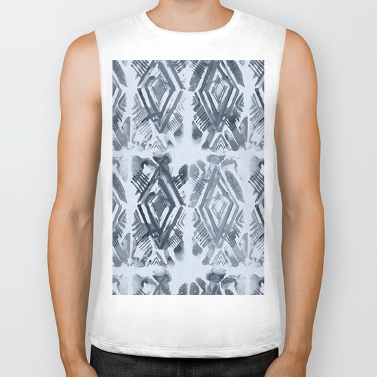 Simply Ikat Ink in Indigo Blue on Sky Blue Biker Tank