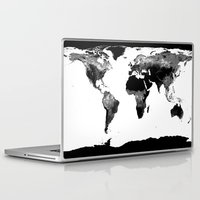 map of the world Laptop & iPad Skins featuring World Map  Black & White by WhimsyRomance&Fun