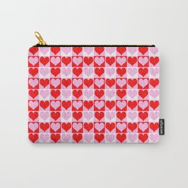 Love Heart Red Pink and White Check Pattern Carry-All Pouch