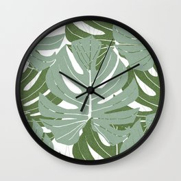 Large Monstera Leaves Calm Green Color White Background #decor #society6 #buyart Wall Clock