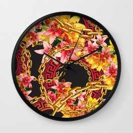 Chained in Gold  Flowers Wall Clock