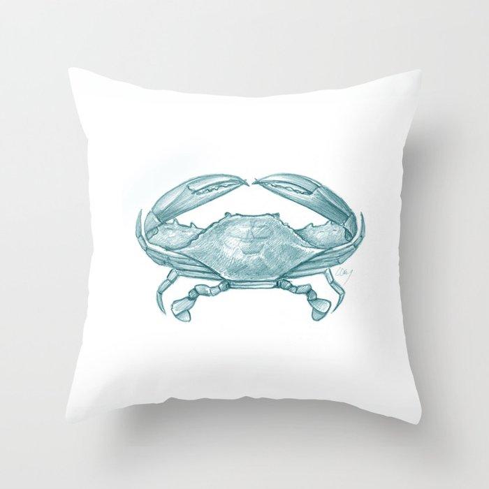 Crab - Drawing Teal Throw Pillow