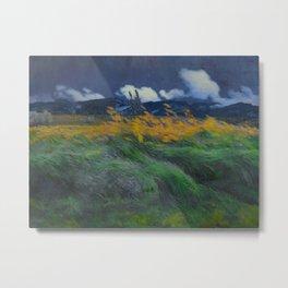Louis Patru - Landscape - 1895-1905 Wheat Field blowing Wind Storm Clouds Metal Print