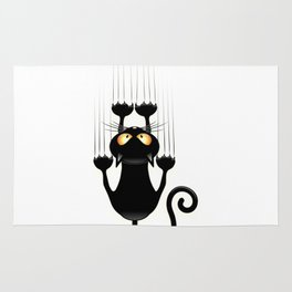 Fub black cat cartoon Rug