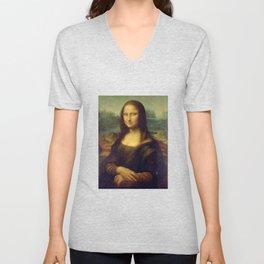 Mona Lisa by Leonardo da Vinci Unisex V-Neck