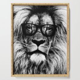 Hipster Lion Black and white Serving Tray