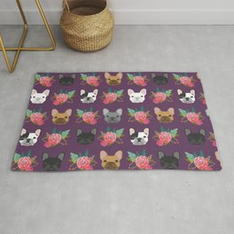 French Bulldog florals cute spring summer dog gifts bright happy frenchie puppy dog portraits  Rug