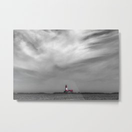Red lighthouse on a cloudy day Metal Print