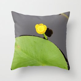 Yellow waterlily with lily pad Throw Pillow