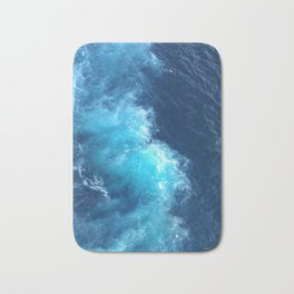 Ocean Blue Waves Bath Mat