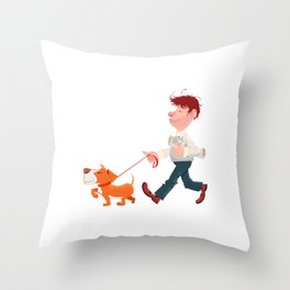 A man walking with his dog Throw Pillow