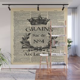 dictionary print rustic shabby french country wheat wreath Wall Mural
