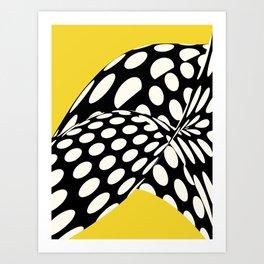 Wavy Dots on Yellow Art Print