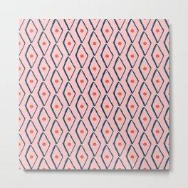 Pink Navy Diamond pattern Metal Print