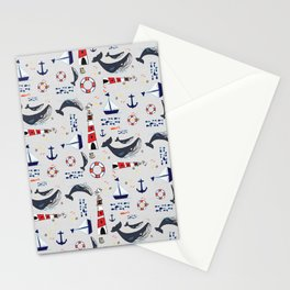 Ocean Blue Whale Grey Stationery Cards