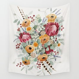 Fall Protea Bouquet Wall Tapestry