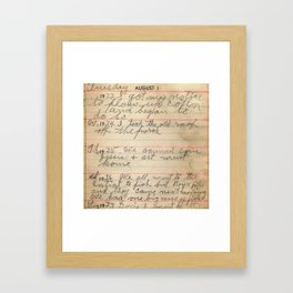 Great Grandpa's Diary Framed Art Print