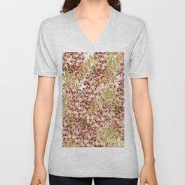 Vintage boho mauve pink dusty green floral Unisex V-Neck