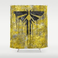 last of us Shower Curtains featuring The Last Of Us Fireflies (Black) by Some_Designs
