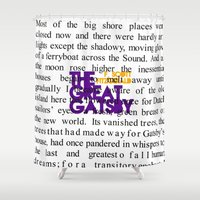 fitzgerald Shower Curtains featuring The Great Gatsby - F. Scott Fitzgerald / Book Cover Art Poster  by FunnyFaceArt