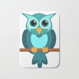 Blue Chibi Owl Bath Mat