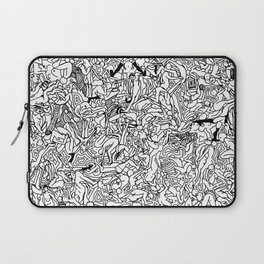 Lots of Bodies Doodle in Black and White Laptop Sleeve