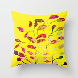 Red and Green Leaves! Yellow Sunshine! Throw Pillow