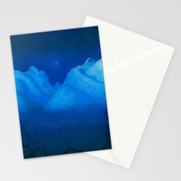 North Star Rising - Winter Night in the Alpine Mountains by Harald Sohlberg Stationery Cards