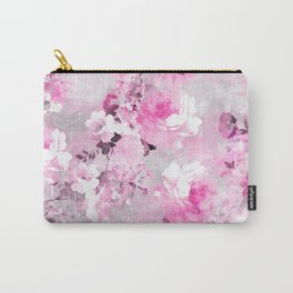 Purple grey floral watercolor romantic flowers pattern Carry-All Pouch