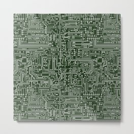 Circuit Board // Green & Silver Metal Print