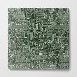 Circuit Board // Green & Silver Metal Print