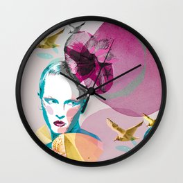 Woman in blue - natural Wall Clock