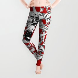 Lady in Belts Fantasy on red.  Yury Fadeev. Leggings