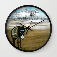 donkey Wall Clocks featuring Seaside Donkey by James Peart