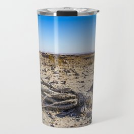 Uprooted Ocotillo Plant in the Middle of Dust and Rocks in the Anza Borrego Desert, California Travel Mug