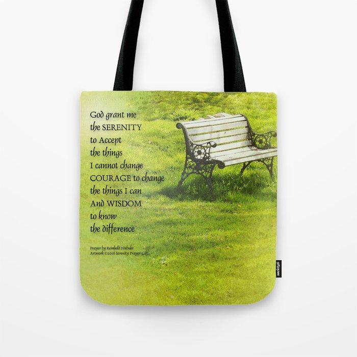 Serenity Prayer Bench Tote Bag