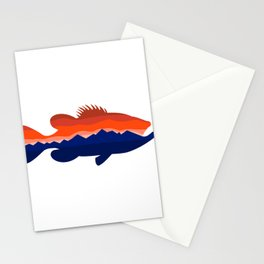 Largemouth Bass Mountains Silhouette Retro Stationery Cards