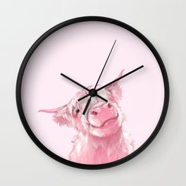 Highland Cow Pink Wall Clock