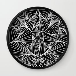 Black And White Line Drawing Illusion Art Wall Clock