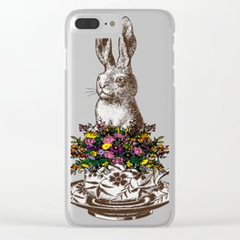 Rabbit in a Teacup Clear iPhone Case