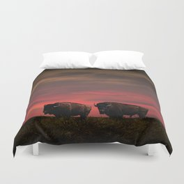 Two American Buffalo Bison at Sunset Duvet Cover