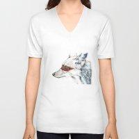 coyote V-neck T-shirts featuring Coyote I by Susana Miranda ilustración