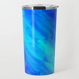 Glowing metallic blue fragments of yellow crystals on irregularly shaped triangles. Travel Mug