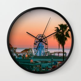 Sunset on the Pier Wall Clock