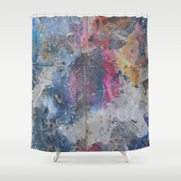 dumbo Shower Curtains featuring PAINTING STUDIO FLOOR-DUMBO, BROOKLYN, NY by Rob Howell
