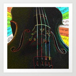 Neon cello Art Print